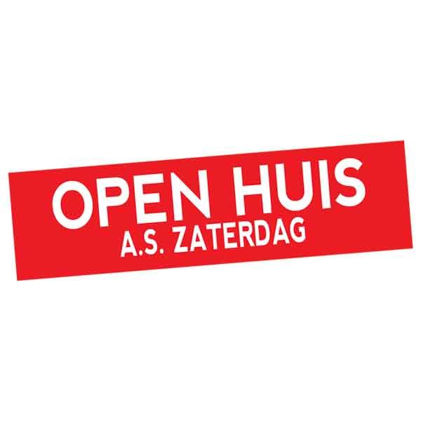 Open Huis as Zaterdag sticker